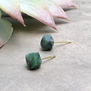 Raw Emerald Gemstone Stud Earrings